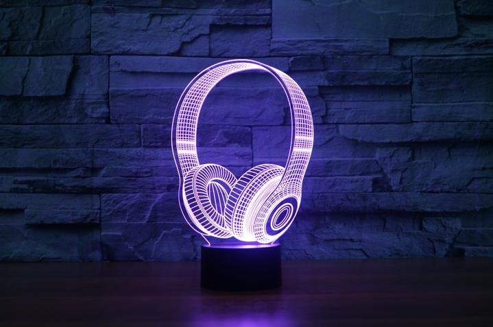 HEADPHONES 2  3D  Lamp 8 Changeable Color [FREE SHIPPING]