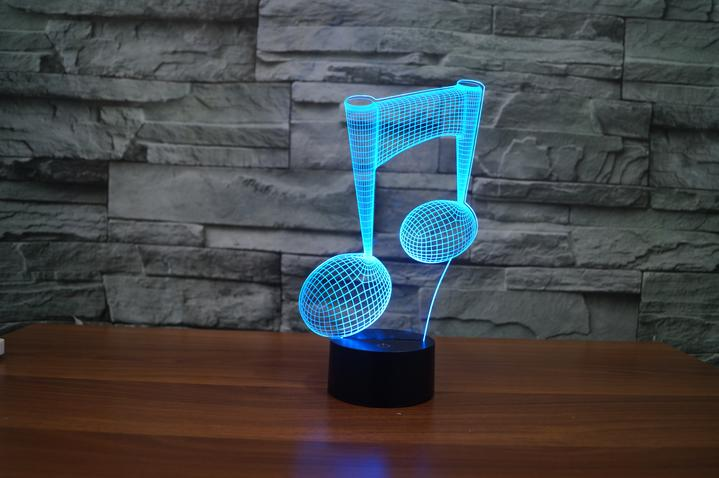 Music note shape  3D  Lamp 8 Changeable Color [FREE SHIPPING]