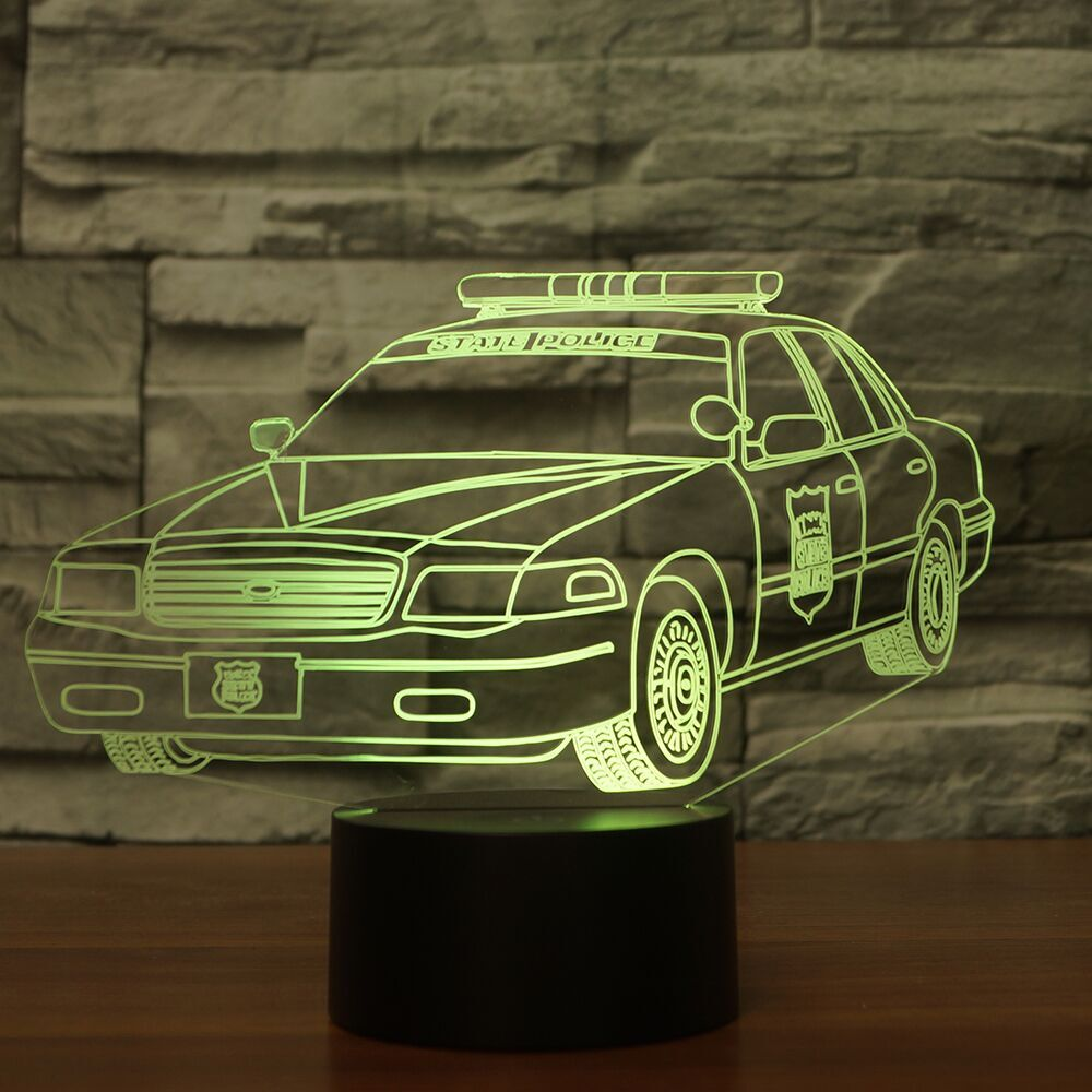 POLICE CAR 3D  Lamp 8 Changeable Color [FREE SHIPPING]