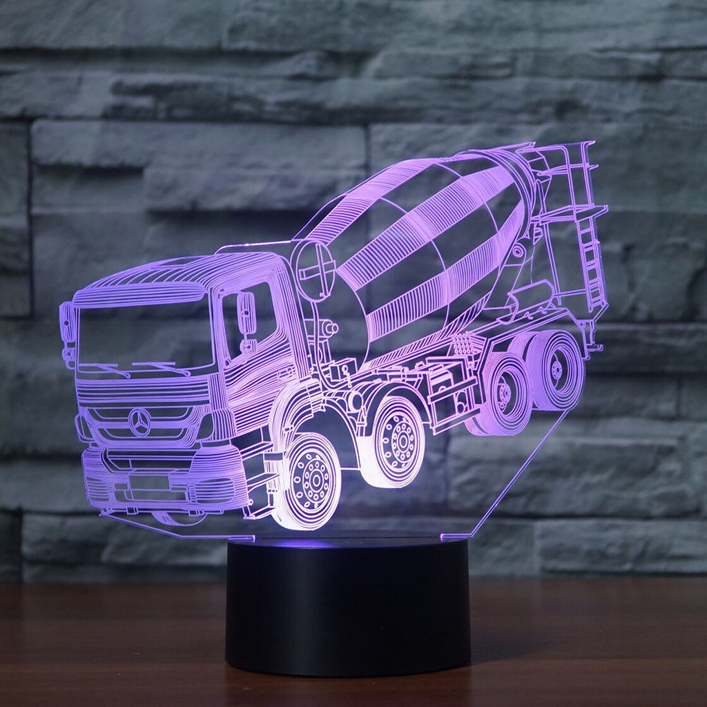MERCEDES MIXER TRUCK 3D Lamp 8 Changeable Colors big size [FREE SHIPPING]