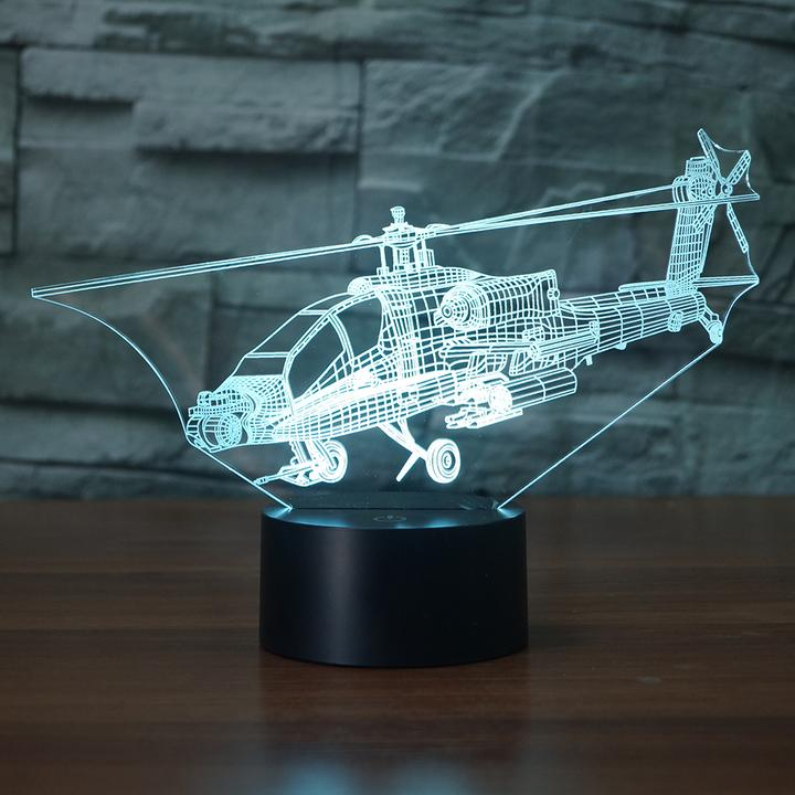 AH 64A Apache HELICOPTER  3D LAMP 8 Changeable Colors big size [FREE SHIPPING]