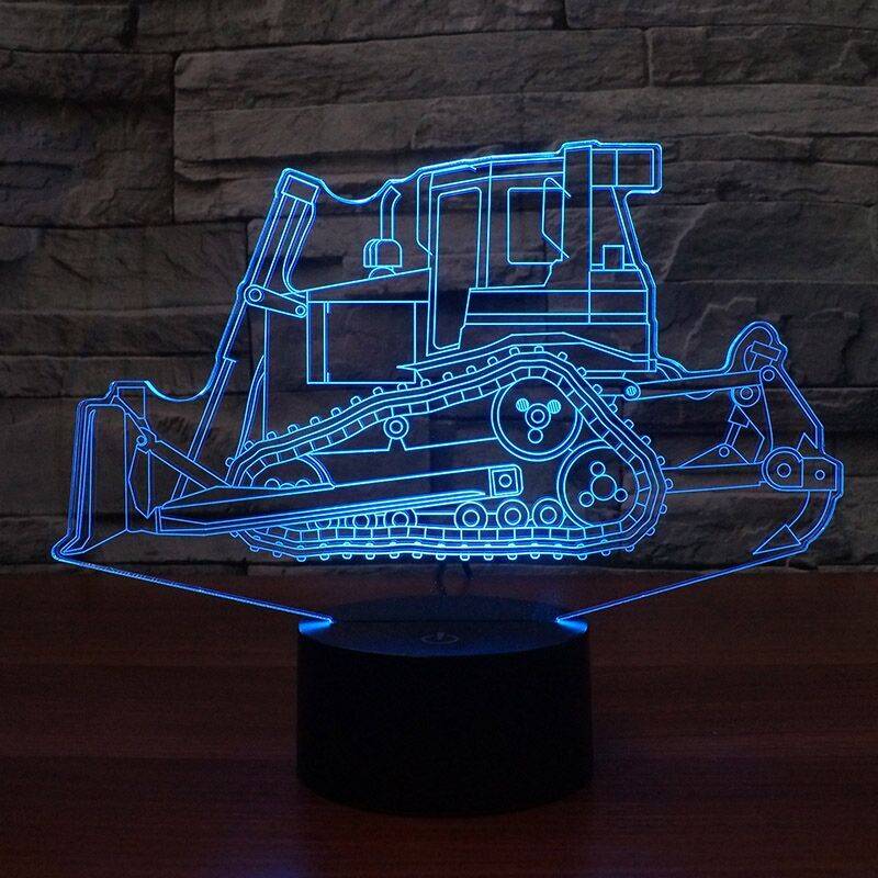 Bulldozer 3D Lamp 8 Changeable Colors  [FREE SHIPPING]