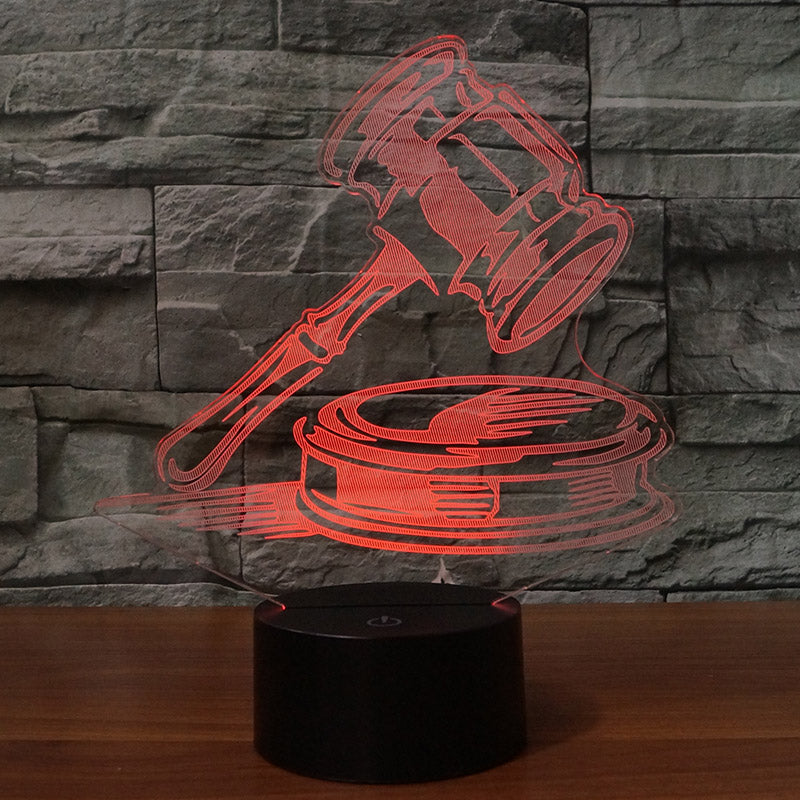 Court Hammer 3D Lamp 8 Changeable Colors big size [FREE SHIPPING]