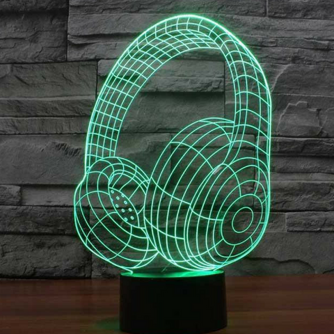 HEADPHONES  3D  Lamp 8 Changeable Color [FREE SHIPPING]