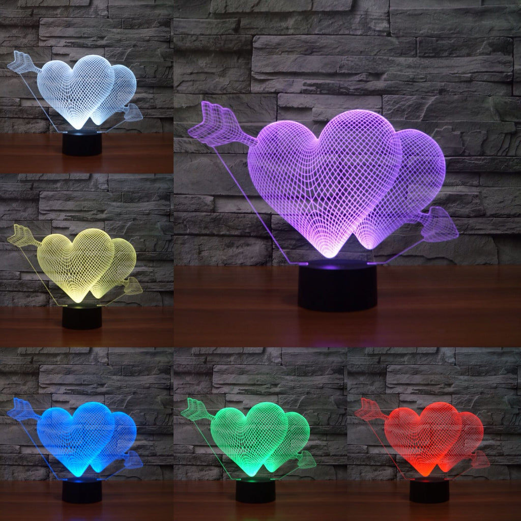2 heart 3D Lamp 8 Changeable Colors big size [FREE SHIPPING]
