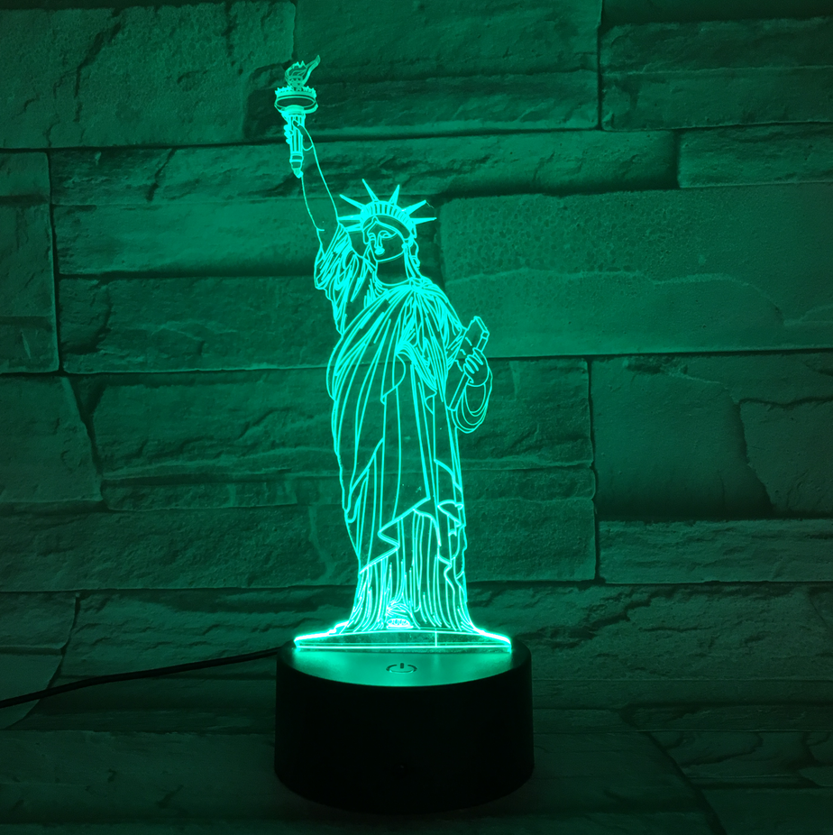STATUE OF LIBERTY 3D  Lamp 8 Changeable Color [FREE SHIPPING]