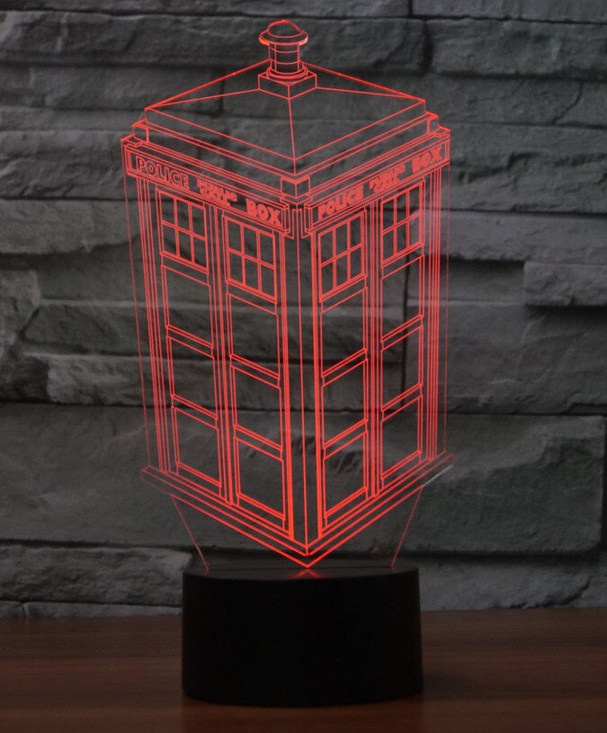 UK POLICE BOX 3D  Lamp 8 Changeable Color [FREE SHIPPING]