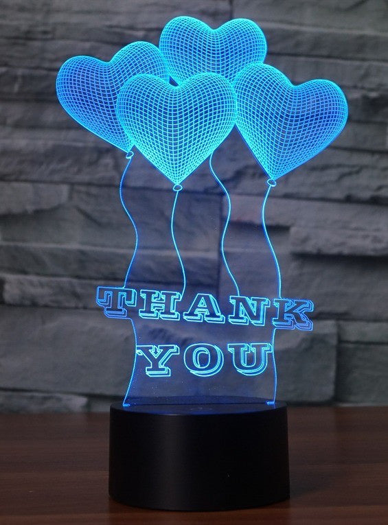 THANK YOU 3D  Lamp 8 Changeable Color [FREE SHIPPING]