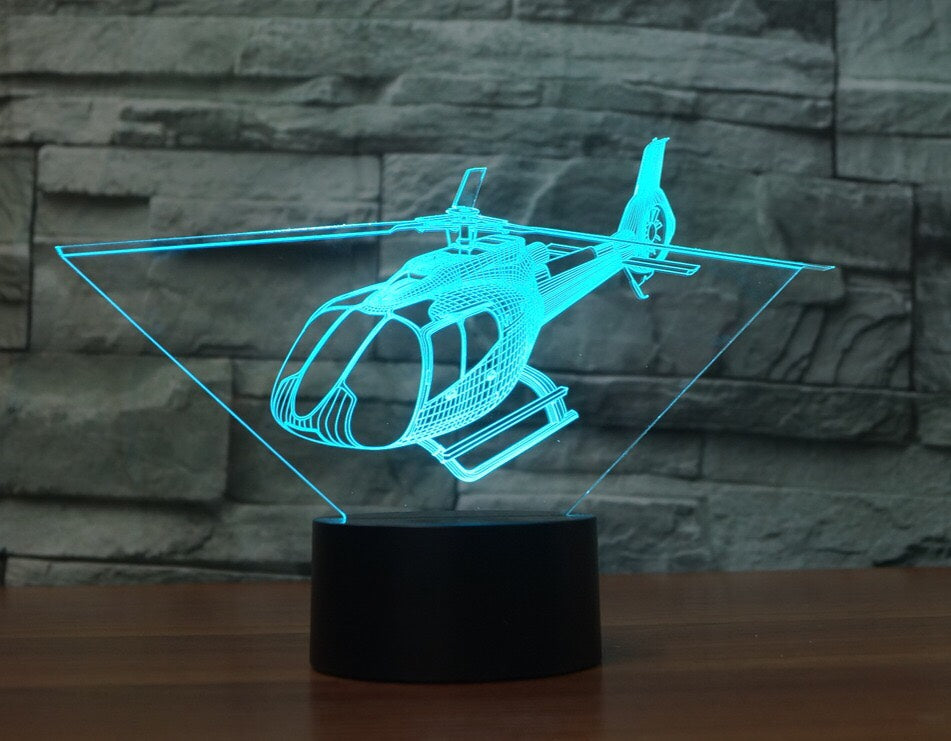 HELICOPTER  3D Lamp 8 Changeable Colors big size [FREE SHIPPING]