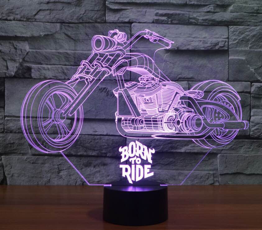 Born to ride 3D  Lamp 8 Changeable Color [FREE SHIPPING]
