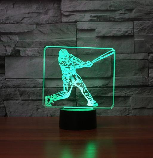 Baseball Player 3D LAMP 8 CHANGEABLE COLORS