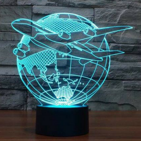 PLANE with GLOBE 3D LAMP 8 CHANGEABLE COLORS