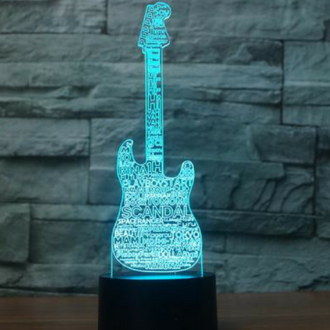 GUITAR SCANDAL  3D  Lamp 8 Changeable Color [FREE SHIPPING]