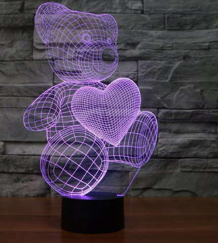 LOVE BEAR 3D Lamp 8 Changeable Color  [FREE SHIPPING]