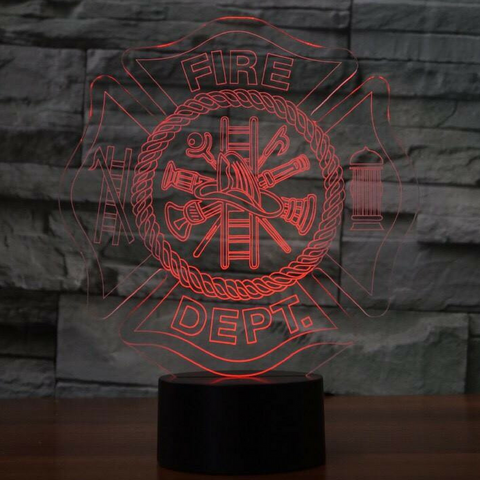 FIRE DEPT 3D Lamp 8 Changeable Colors big size [FREE SHIPPING]