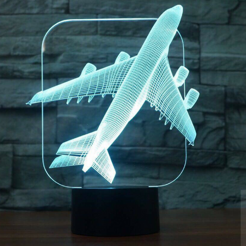 PLANE 3D LAMP 8 CHANGEABLE COLORS