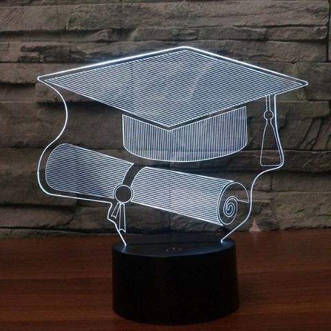 Graduation Hat 3D LAMP 8 CHANGEABLE COLORS