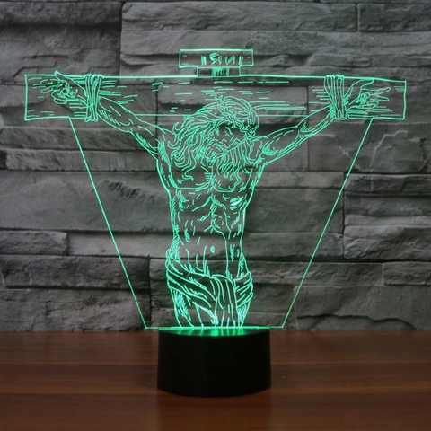 JESUS CROSS  3D  Lamp 8 Changeable Color [FREE SHIPPING]