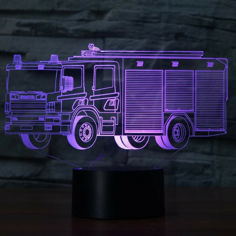 FIRE TRUCK2 3D Lamp 8 Changeable Colors  [FREE SHIPPING]