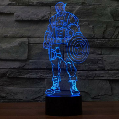 CAPTAIN AMERICA 3D  Lamp 8 Changeable Color [FREE SHIPPING]