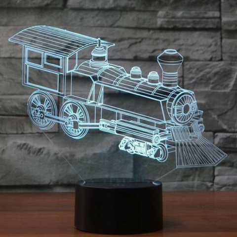 RAILWAY ENGINE  3D  Lamp 8 Changeable Color [FREE SHIPPING]
