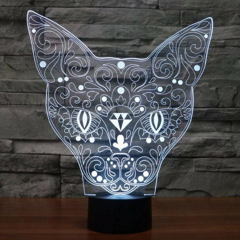TATOO CATFACE 3D Lamp 8 Changeable Color [FREE SHIPPING]