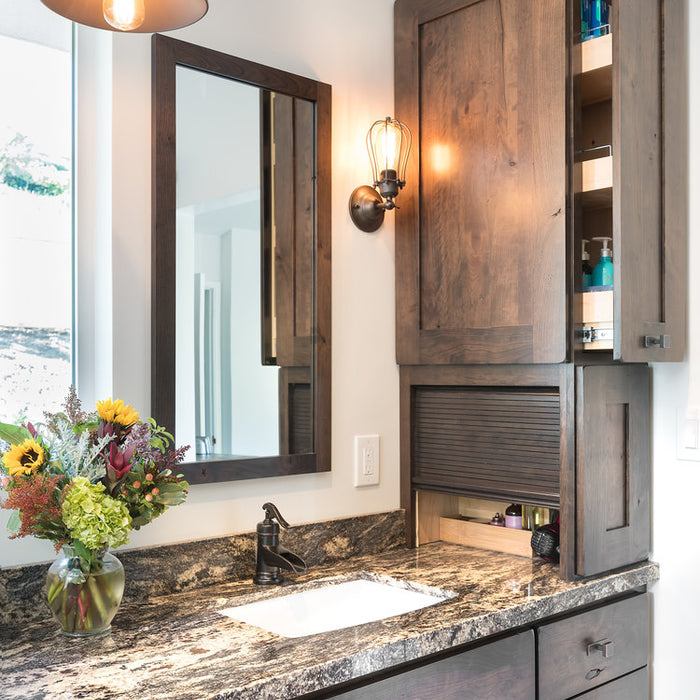 Concord California Bathroom Remodel by Interior Designer Jackie Lopey, Rustic Style, Custom Bathroom Storage Solution with Pull out on on front and roll up appliance garage on right, Crystal Cabinet Works