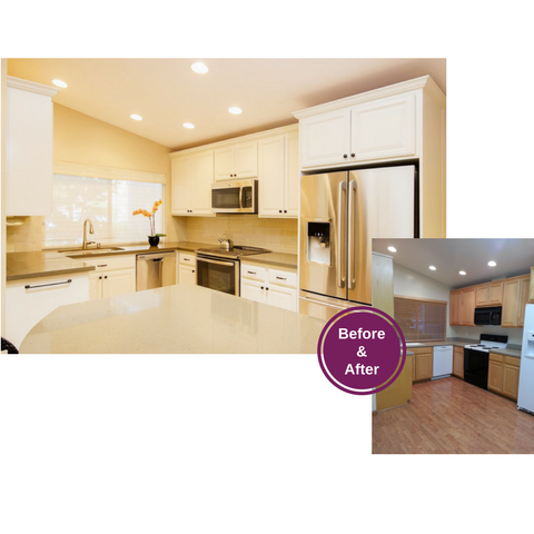 Before and After Photo of Remodeled Kitchen with White Painted Cabinets, Stainless Steel Appliances and Quartz Countertops