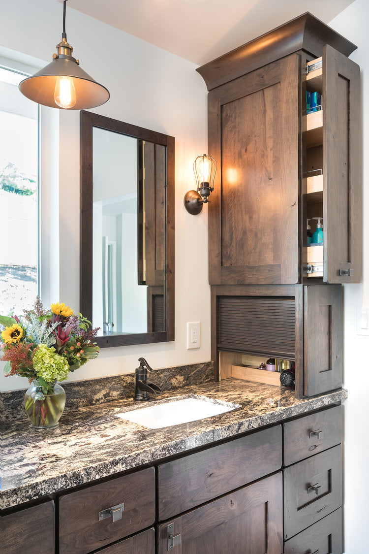 Modern Country Master Bathroom Remodel, Concord, California, featuring clever front and side storage, by Jackie Lopey, Certified Interior Designer & Kitchen Designer