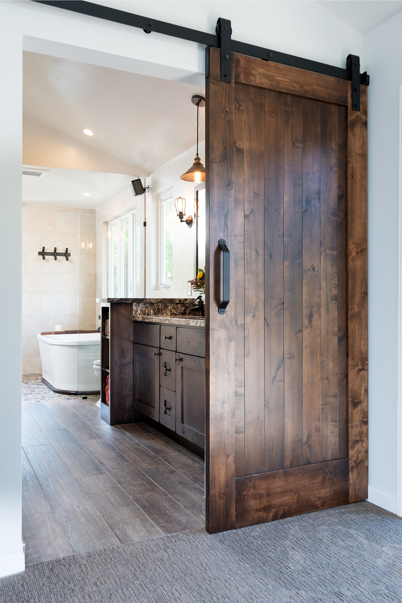 Modern Country Master Bathroom Remodel, Concord, California, featuring rustic barn door, by Jackie Lopey, Certified Interior Designer & Kitchen Designer