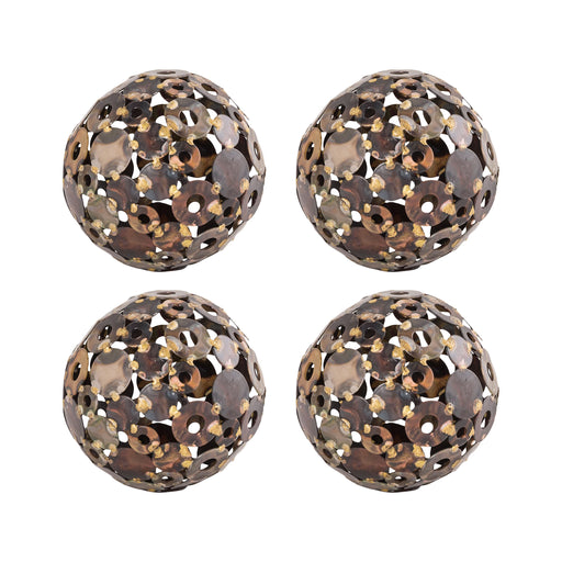 015649/S4 Novell Set of 4 4In Sphere Mixed Metals