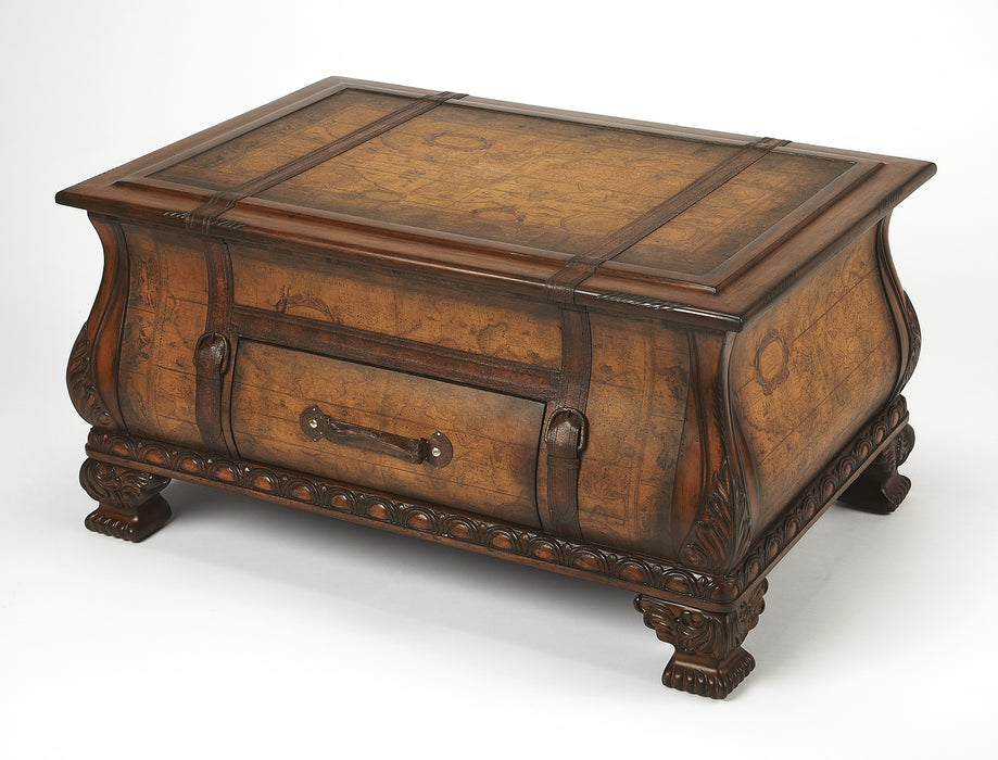 Vasco Old World Map Bombe Trunk Table