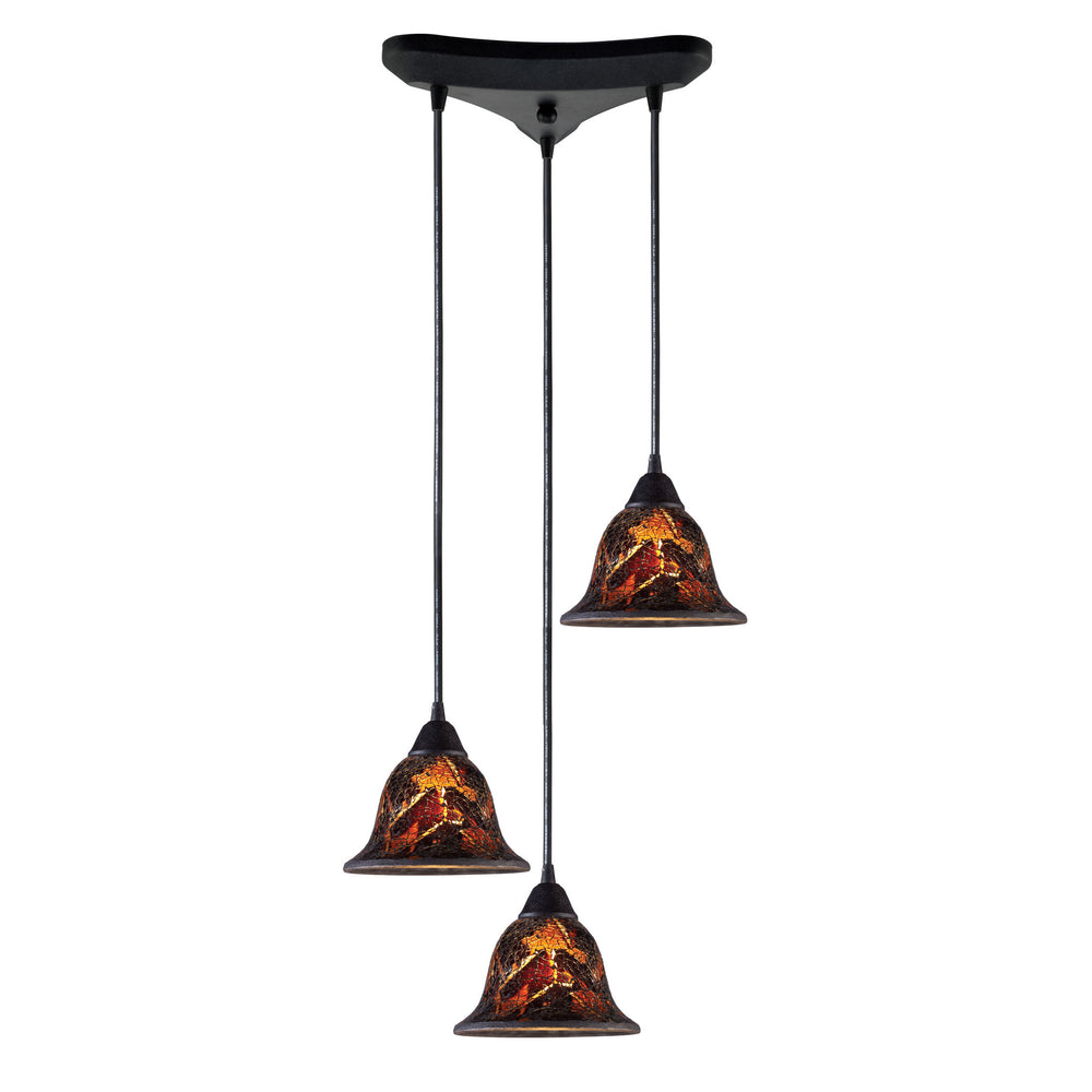 ELK Lighting 10144/3FS Firestorm 3 Light Pendants In Dark Rust Dark Rust Free Parcel Delivery