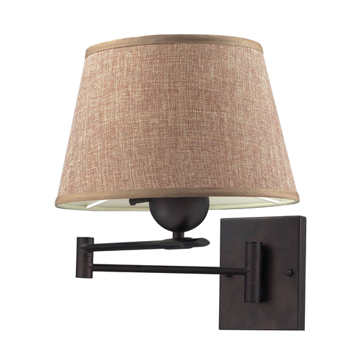 ELK Lighting 10291/1 1 Light Swingarm Sconce In Aged Bronze With Tan Shade Aged Bronze Free Parcel Delivery