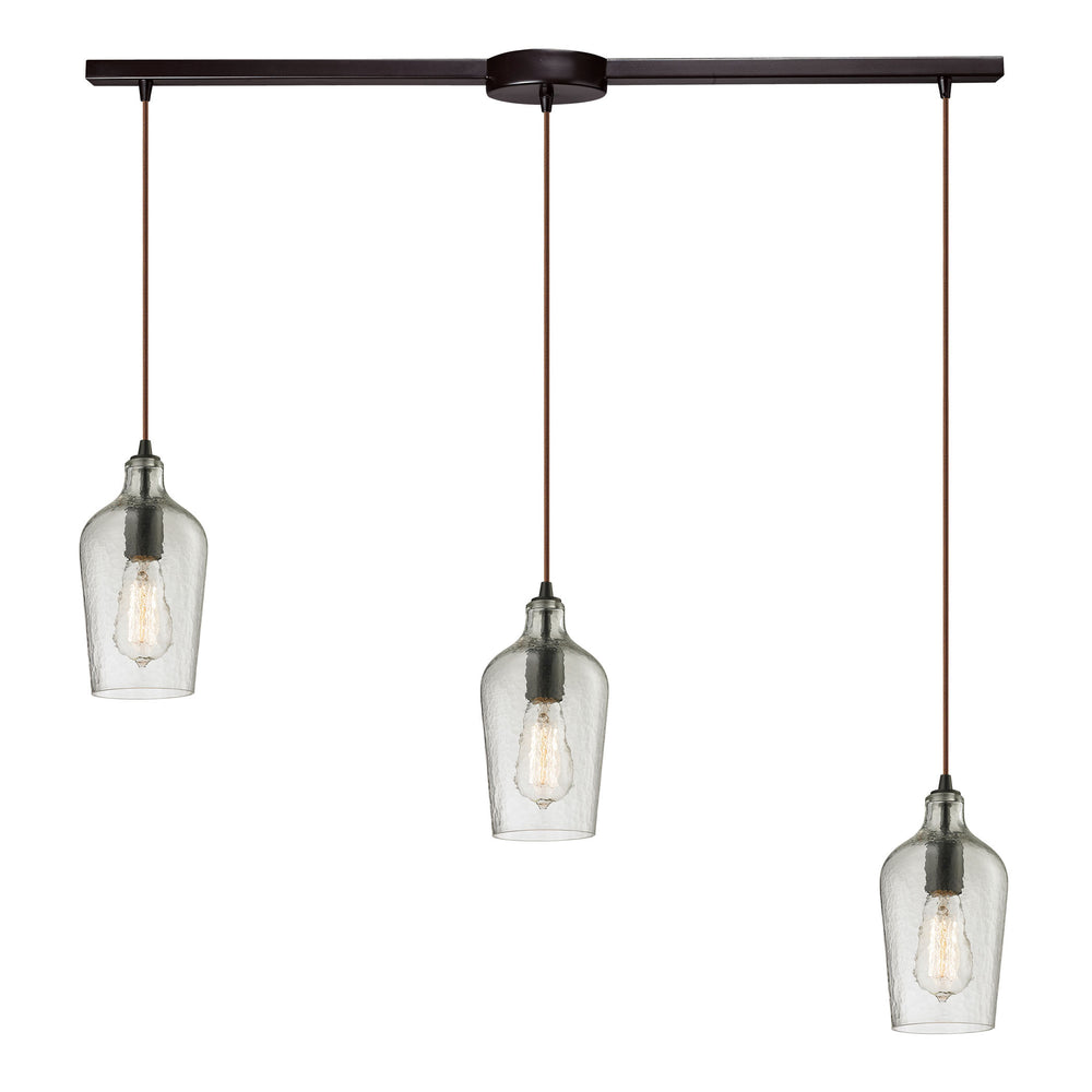 ELK Lighting 10331/3L-CLR Hammered Glass Collection 3 Light Pendant In Oil Rubbed Bronze Oil Rubbed Bronze Free Parcel Delivery