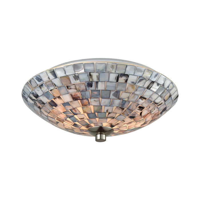 ELK Lighting 10401/2 Cappa Shells 2 Light Flush With Satin Nickel Hardware And Gray Capiz Shells Satin Nickel Free Parcel Delivery