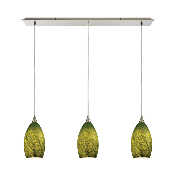 ELK Lighting 10510/3LP-GRS Earth 3 Light Pendant In Satin Nickel And Grass Green Glass Satin Nickel Free Parcel Delivery