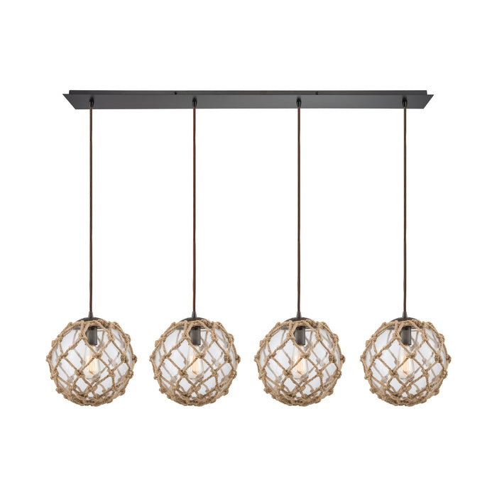 ELK Lighting 10715/4LP Coastal Inlet 4 Pendant Oil Rubbed Bronze Oil Rubbed Bronze Free Parcel Delivery