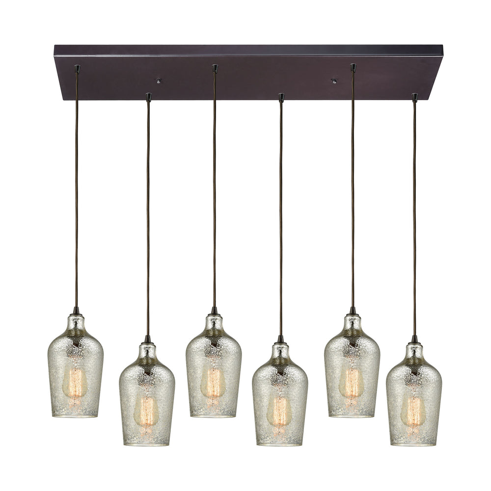 ELK Lighting 10830/6RC Hammered Glass 6 Light Rectangle Fixture In Oil Rubbed Bronze With Hammered Mercury Glass Oil Rubbed Bronze Free Parcel Delivery