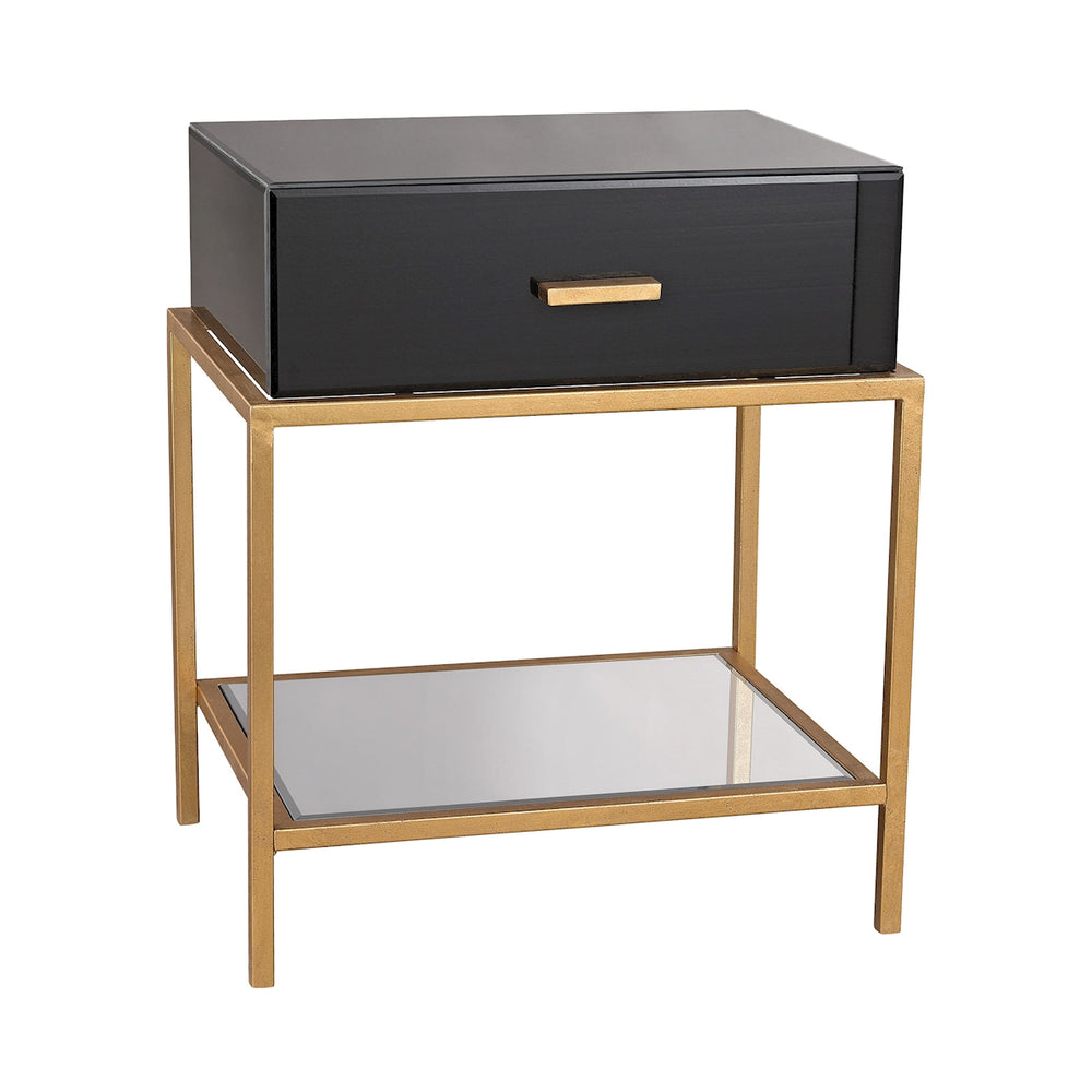 1114-166 Evans Side Table Black, Gold Leaf