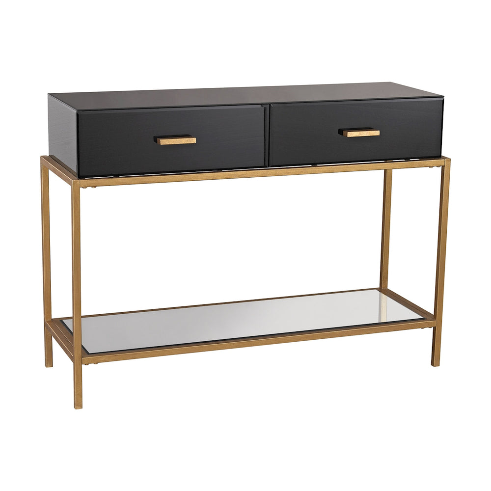 1114-167 Evans Console Black, Gold Leaf