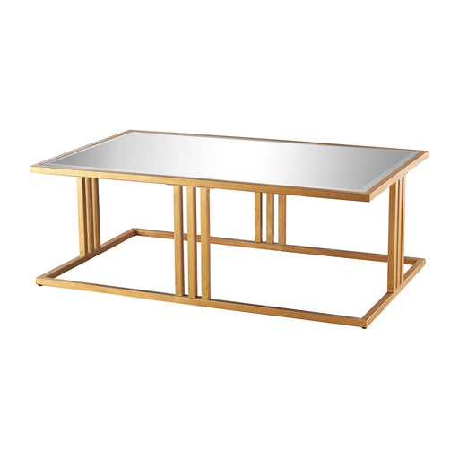 1114-198 Andy Coffee Table In Gold Leaf And Clear Mirror Clear, Gold Leaf