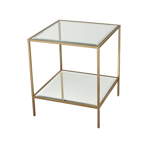 1114-301 Scotch Mist Side Table Gold Leaf, Clear Glass, Mirror