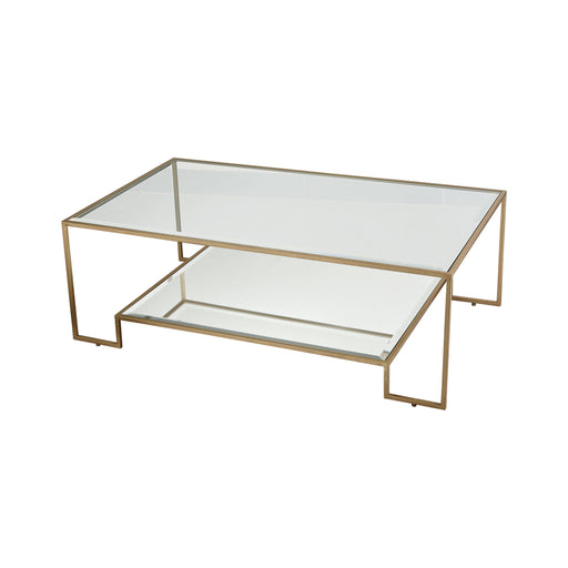 1114-302 Scotch Mist Coffee Table Gold Leaf, Clear Glass, Mirror