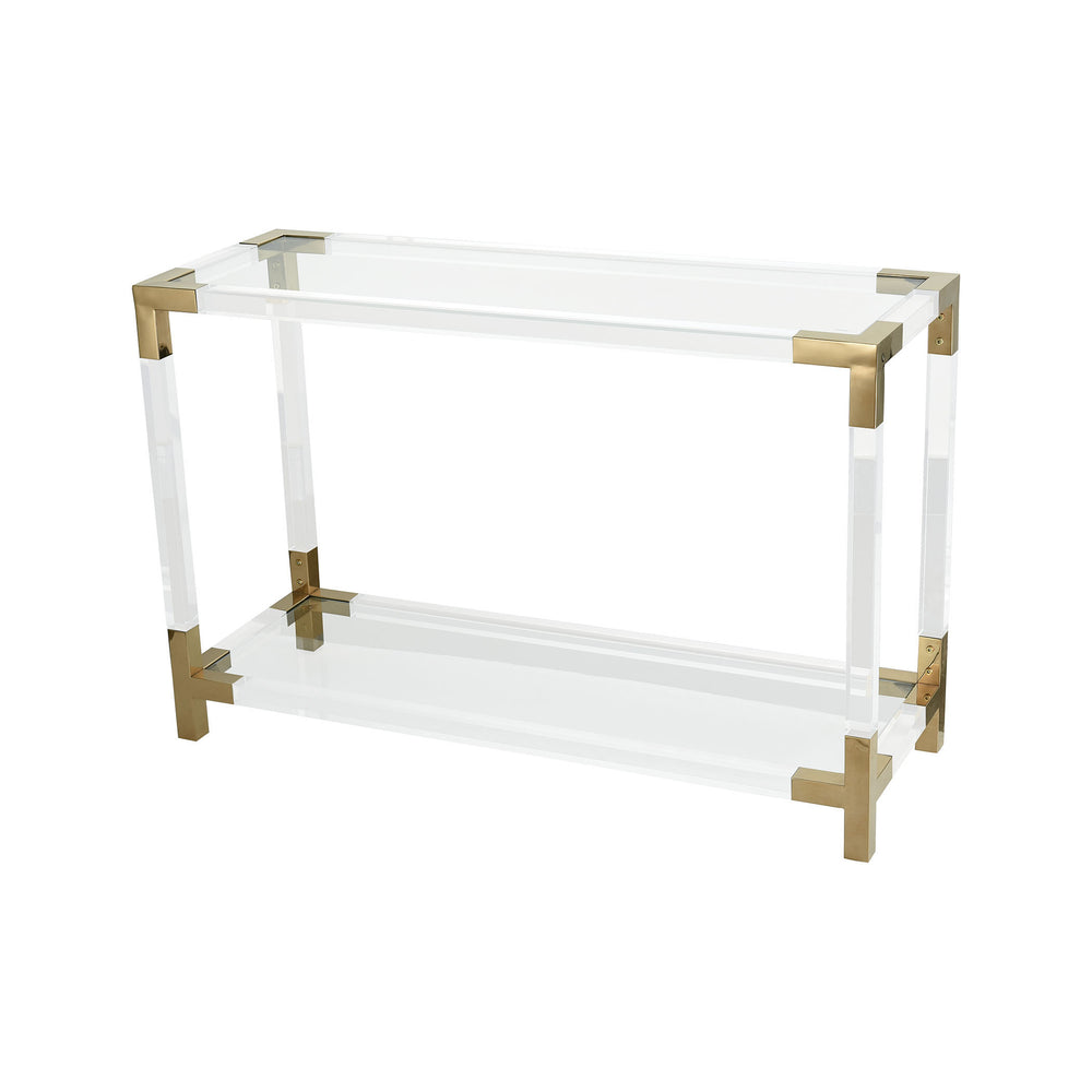 1114-306 Equity Console Table Clear Acrylic, Gold Plated Stainless Steel