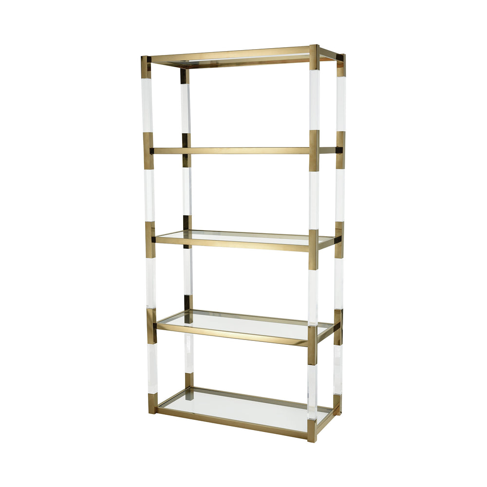 1114-307 Equity Shelf Clear Acrylic, Gold Plated Stainless Steel