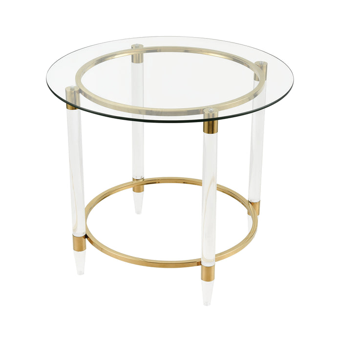 1114-324 Pharaoh's Chariot Accent Table Gold Plated, Clear