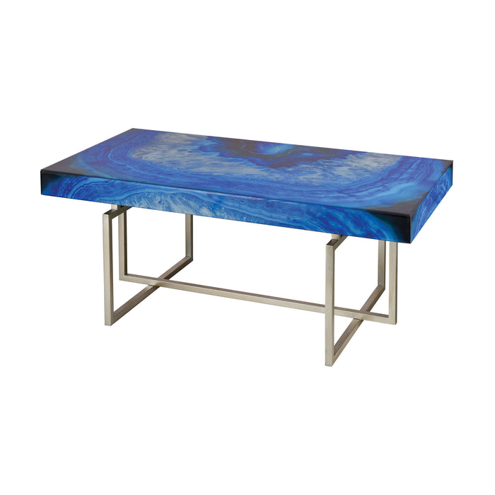 1114-368 Five-O Coffee Table Blue Agate, Silver