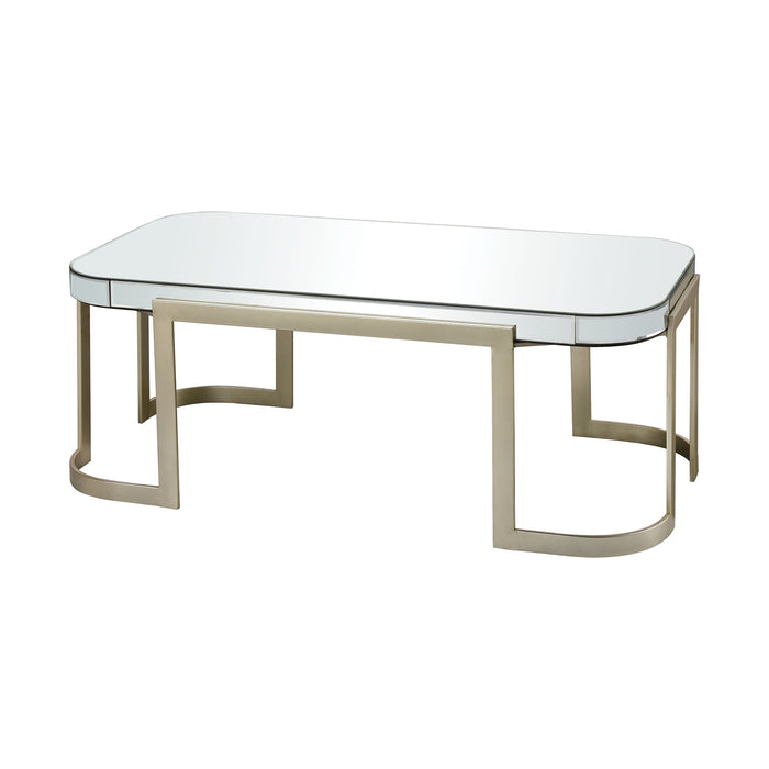 1114-397 Castelli Coffee Table Champagne, Clear Mirror