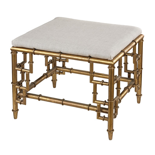 114-60 Stool With Bamboo Frame In Gold Leaf And Linen Seat Clear, Cream Linen, Gold Leaf